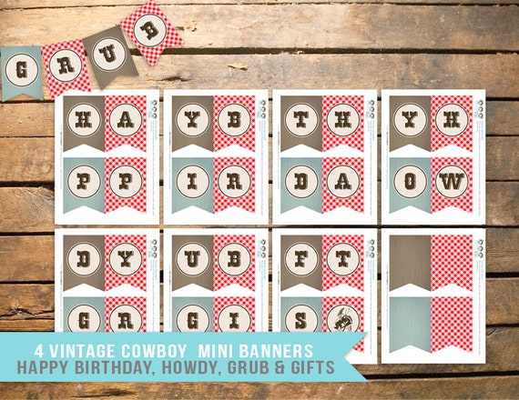 Cowboy Birthday Party Banners Instant Download