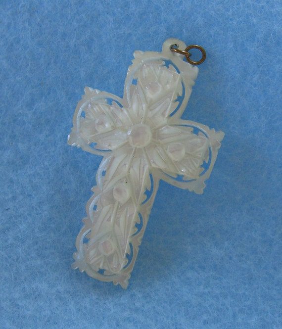 Antique Cross Carved Religious Jewelry Mother of Pearl