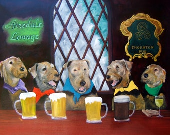 """Airedale Terrier Art Print of an original oil painting """"Happy Hour"""" - St. Patricks Day-8x10-Dog Art"""