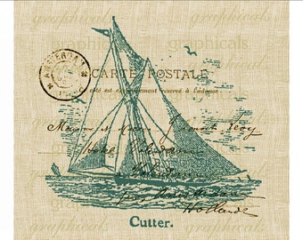 Summer sailing digital download image Vintage Cutter sailboat teal Paris Carte Postale for iron on transfer burlap decoupage pillows No. 603