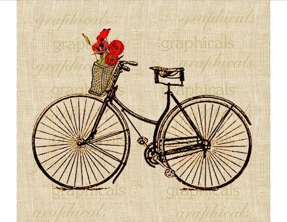 Vintage Paris bicycle Basket Orange Poppies Instant clip art digital download image for burlap decoupage Iron on transfer Crafts No. 586