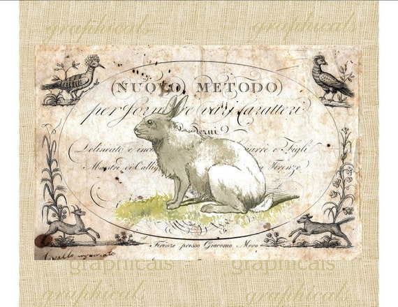 Vintage rabbit on antique ephemera animals spring for transfer to fabric paper burlap tote bags pillows jewelry cards No. 558