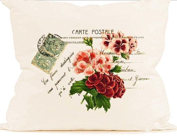 paris decor geraniums instant clip art carte postale digital download image for fabric transfer. Black Bedroom Furniture Sets. Home Design Ideas