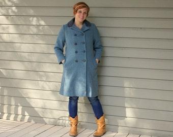 SALE 1960s blue wool winter princess coat. Size large 10-12