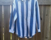 1990's VINTAGE white and blue DENIM oversized vertical STRIPED button-down