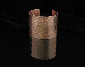 "Hammered Copper Cuff Bracelet 2"" Wide - Personalized / Stamped"