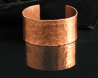 """Hammered Copper Cuff Bracelet  1"""" Wide - Personalized Stamped"""