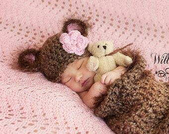 Baby Cocoon & Baby Bear Hat - Very Soft - Rich Brown Shades and  Fuzzy Trim - U Chose Accent Color