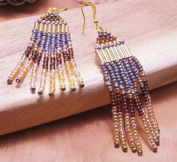 Earthy Native American Style Beaded Earrings