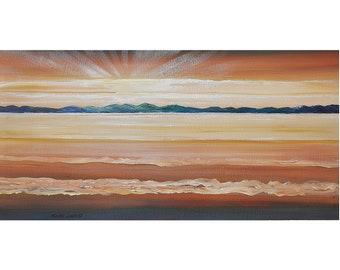 ORIGINAL PAINTING Ocean Waves Sunset  Impressionist  Acrylic Impasto Art Large 24X48 Seascape By Thomas John