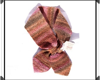 Hand-Knit NECK SCARF of Hand-Dyed & Hand-Spun Wool/Silk Blend - Pretty Pull-Through-Loop Design - Bryce Canyon Colorway