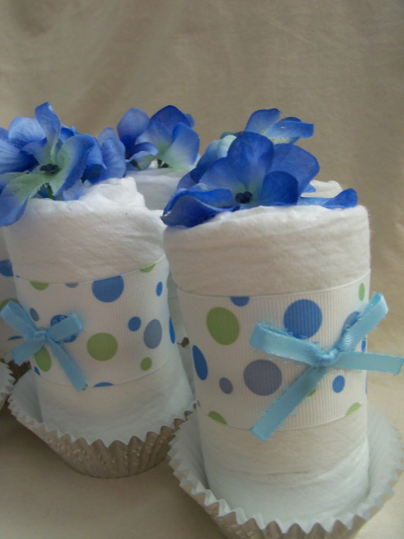 Baby Boy Diaper cupcakes, the perfect baby shower gift or decoration - Made to order