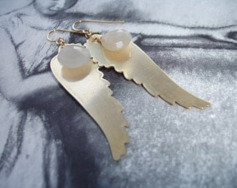 Angel Wings and Blue Chalcedony Long Dangle Earrings, Vintage Brass, Gold Fill, Light and Airy, Romantic