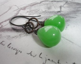 Green Apple Dangle Earrings, Green Jade Briolettes, Antiqued Brass