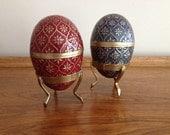 Enamel Cloisonné Eggs Brass Collectable