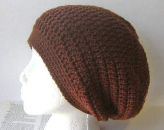 Chocolate Brown Hat, Crocheted Hat, Slouchy Beanie, Beret