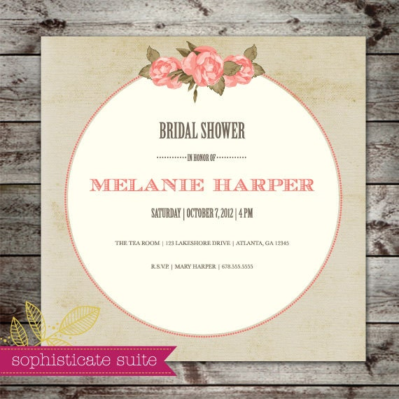 Printable Invitation - Victorian Bridal Shower Invite