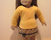 18 Inch Doll Clothes ANIMAL Print SKIRT With Gold Top Fits Other 18 Inch Dolls