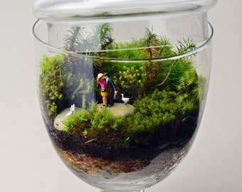 Moss Terrarium//Woodland Lovers 2//Little People with geese//Apothecary Jar Terrarium//Valentines Day//Anniversary//Wedding//Green Gift