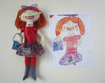 Custom softies, stuffed dolls and animals made from children's artwork