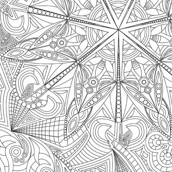 kaleidoscope coloring page design to color coloring print