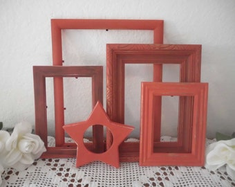 Red Christmas Frames Shabby Chic Picture Frame Set Distressed Rustic Cottage Cabin Home Decor Holiay Wedding Decoration Gift For Her Him