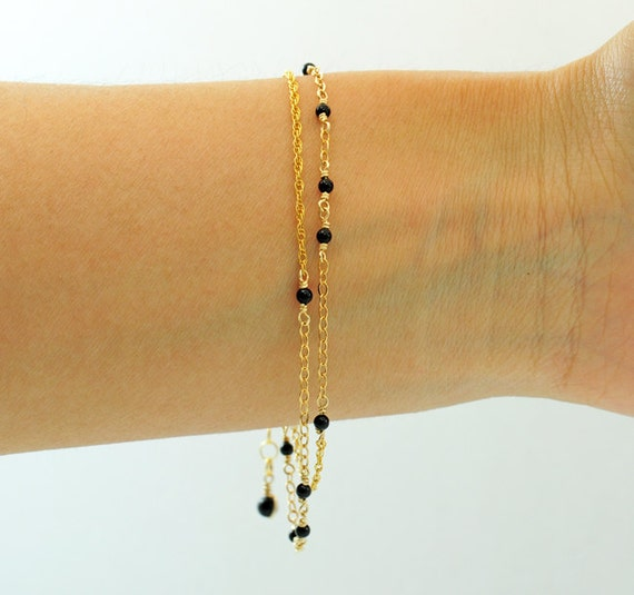 Thin Gold Chain Bracelet: Black Onyx Gold Bracelet Two Chains Thin And Feminine