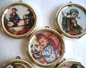 Vintage Hummel Prints Wall Hanging/Magnets. Five Framed Prints. Berta Hummel,Germany