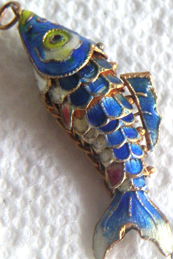 Vintage Articulated Multi Color Enamel Fish By Qvintage On