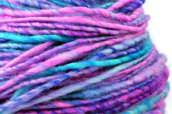 Handspun Yarn Purple Fuchsia Turquoise Spinsleydale Wool WATERCOLOR SKY