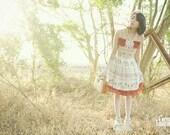 White Pinafore Dress Golden Printed Red Chiffon Stripe Ribbon Decor (LIMITED) Handmade Lolita Dress