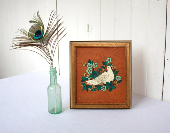 Vintage Painting on Wood, Bird Painting, Framed Original Art, Dove, Flowers, Cherry Blossoms, White, Turquoise, Gold, Wood, Peace, Boho