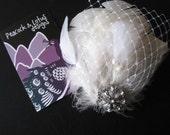 SALE Beautiful White Feather and Rhinestone Wedding Fascinator