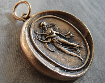 Dance, Music and Song Terpsichore Wax Seal Pendant - antique wax seal jewelry charm Dancer Muse in bronze by RQP Studio