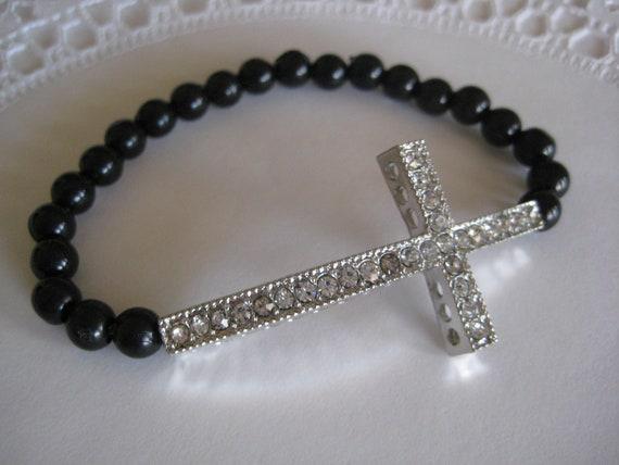 Beaded Sideways Cross Bracelet Sideways Cross Bracelet Black