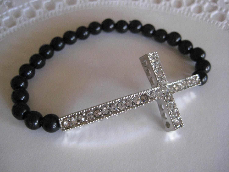 Sideways Cross Bracelet Leather Sideways Cross Bracelet Black