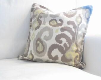 ikat pillows, yellow grey pillows, 16x16 in pillows, decorative pillows, home decor, throw pillows, cushion covers, yellow grey ikat pillows