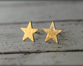 Hammered Star Earring Studs in Raw Brass, Stainless Steel Posts