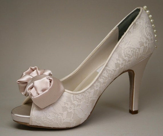 Wedding Shoes -- Dark Ivory Wedding Peeptoes with Lace Overlay, Blush Bow and Pearl Details