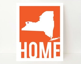New York Map- State Artwork- State Art- New York State Art- New York State Map- New York State Print- New Home Gift- Minimalist Art Print