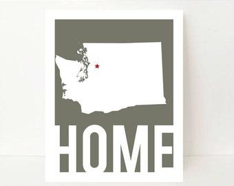 Washington State Art - Washington State Print - Washington State Map - Washington Map - Washington Art - State Artwork - Home Typography