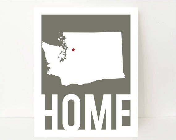 Washington State - Washington State Art - Washington Map - Washington Art - State Artwork - Home Typography - Home Art - Dorm Wall Decor