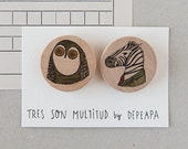 Owl and Zebra - Pack of illustrated wooden brooches