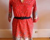 SALE Vtg Plus Size 1960s Floral Coral house dress with belt XXL 18-20 2x 1x