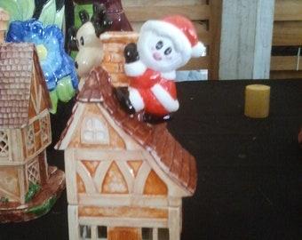 "Adorable Santa and Rudolph on roof, Santa's Reindeer, Christmas Potpourri, Christmas incense burner, Decoration,  6"" Finished glazed ceramic"