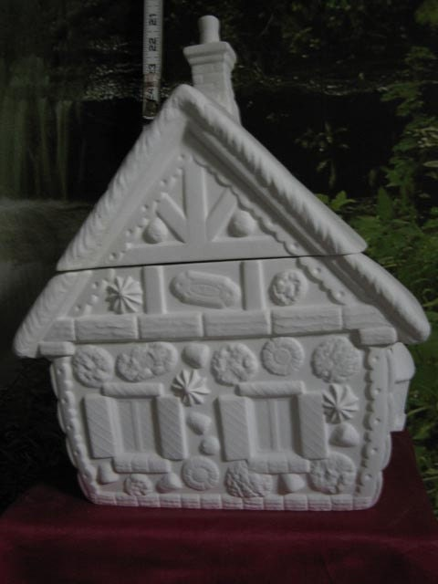 Ginger Bread House Cookie Jar Glazed Inside Ready To