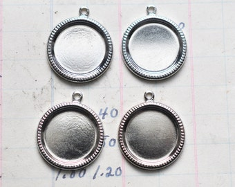 SIX round bezel frames with hoop, 28mm, silver plated Calliopes Attic