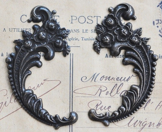 Left and Right Neo Victorian flourishes for scrapbooking, Espresso finish