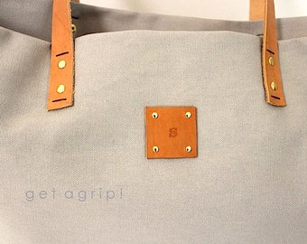 Canvas Tote... SPECIALIZED LABEL...Beach bag sized gray tote bag