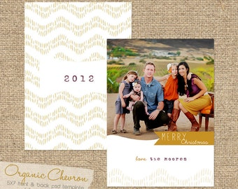 INSTANT DOWNLOAD Organic Chevron 5X7 Custom Photo Christmas Card Template